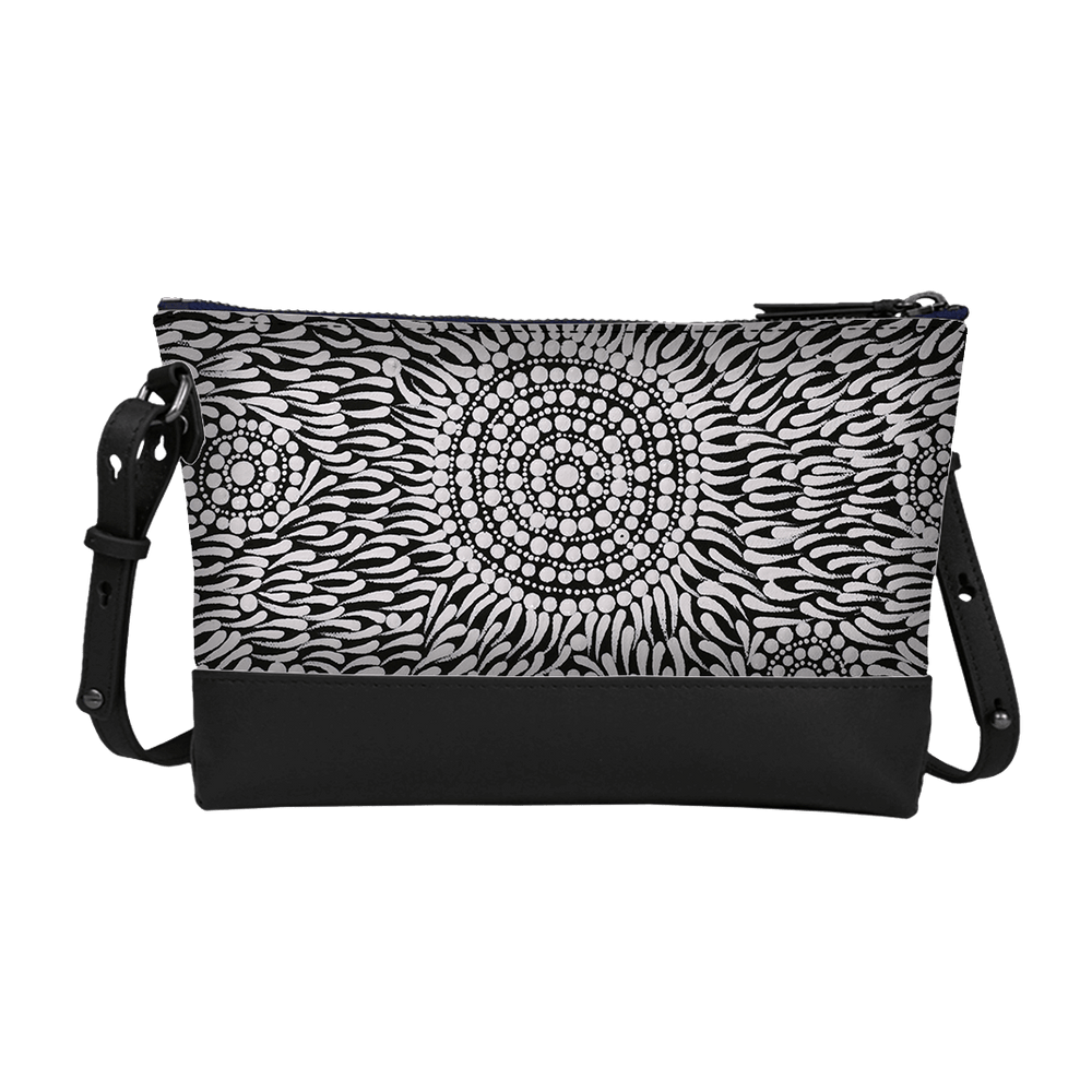 Load image into Gallery viewer, Trapezoid Crossbody - Watiya-warnu Jukurrpa (Seed Dreaming)