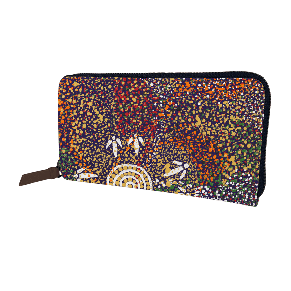 Zip Around Long Wallet -  Yankirri Jukurrpa (Emu Dreaming)