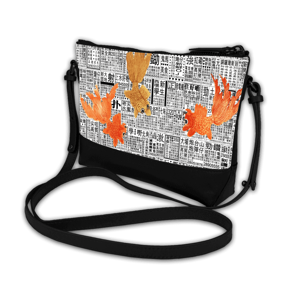 Trapezoid Crossbody - Newspaper Goldfish