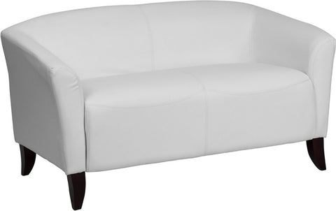 Imperial Series White Leather Love Seat