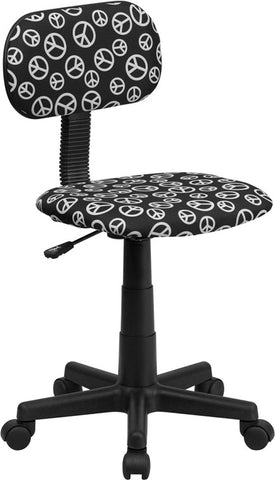 Peace Sign Printed Computer Chair