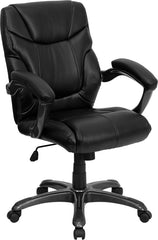 Mid-Back Black Leather Overstuffed Office Chair