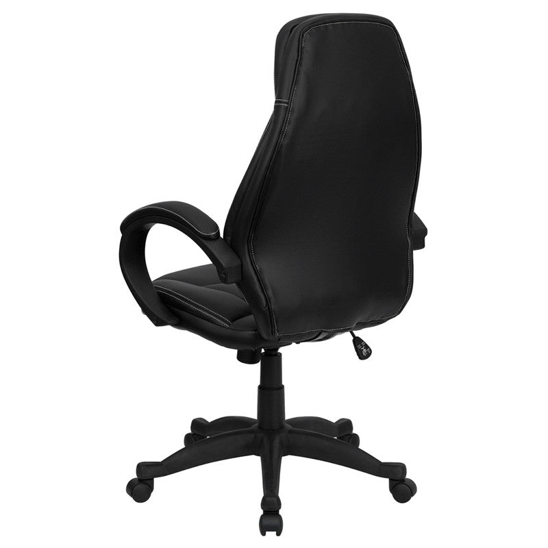contemporary leather high office chair black. high back black leather contemporary office chair