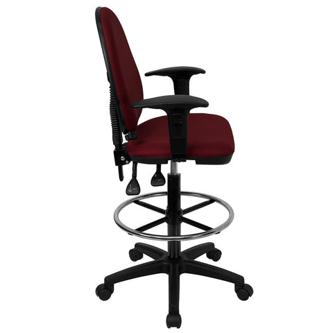 Mid-Back Burgundy Fabric Multi-Functional Drafting Stool with Arms and Adjustable Lumbar Support