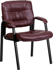 Burgundy Leather Guest / Reception Chair with Black Frame Finish