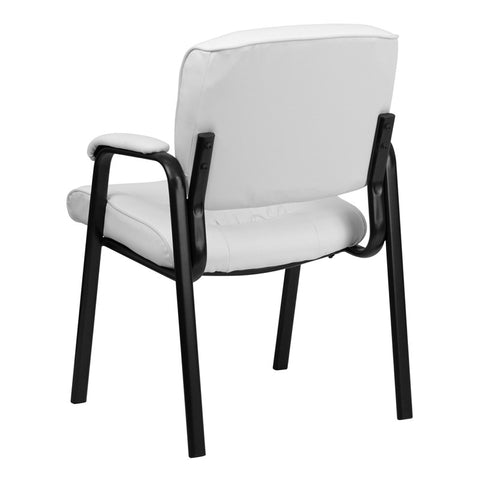 White Leather Guest / Reception Chair with Black Frame Finish