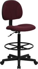 Burgundy Fabric Ergonomic Drafting Stool (Adjustable Range 26''-30.5''H or 22.5''-27''H)