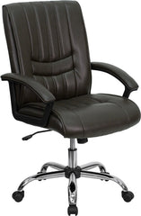 Mid-Back Espresso Brown Leather Manager's Chair