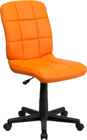 Mid-Back Orange Quilted Vinyl Task Chair