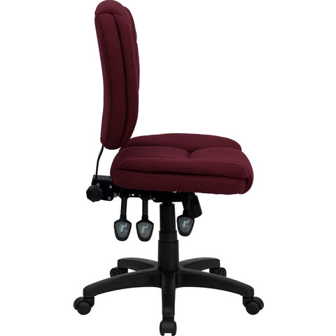Mid-Back Burgundy Fabric Multi-Functional Ergonomic Task Chair