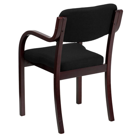 Contemporary Black Fabric Wood Side Chair with Mahogany Frame