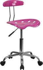 Vibrant Candy Heart and Chrome Computer Task Chair with Tractor Seat