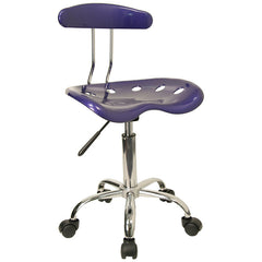 Vibrant Deep Blue and Chrome Computer Task Chair with Tractor Seat