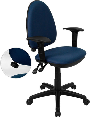 Mid-Back Navy Blue Fabric Multi-Functional Task Chair with Arms and Adjustable Lumbar Support