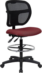 Mid-Back Mesh Drafting Stool with Burgundy Fabric Seat