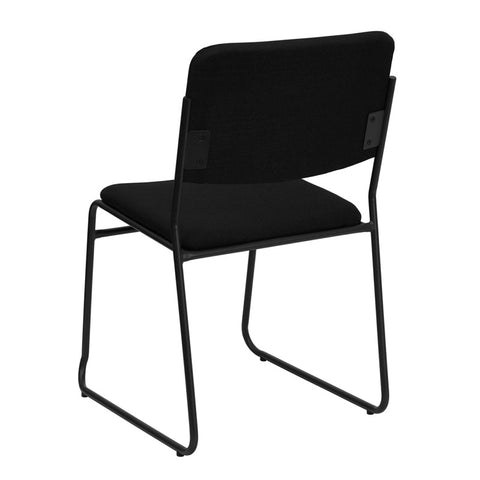 HERCULES Series 1500 lb. Capacity High Density Black Fabric Stacking Chair with Sled Base