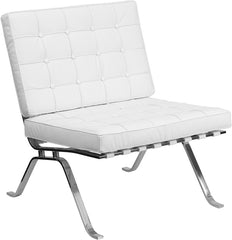 White Leather Lounge Chair with Curved Legs