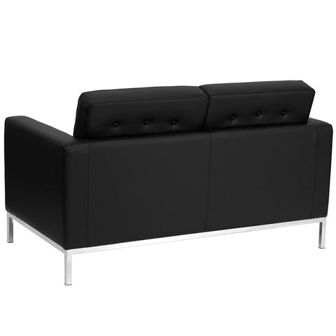 Lacey Series Contemporary Black Leather Love Seat with Stainless Steel Frame