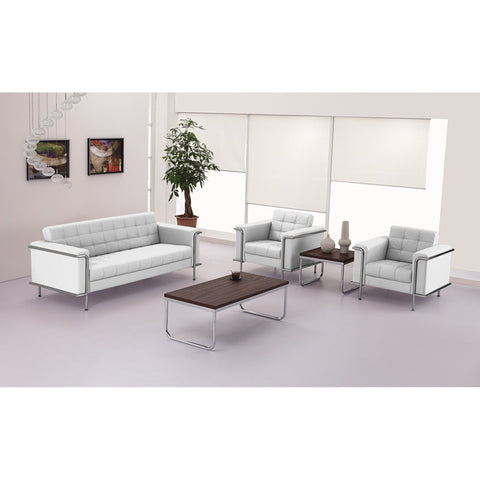 HERCULES Lesley Series Contemporary White Leather Sofa with Encasing Frame
