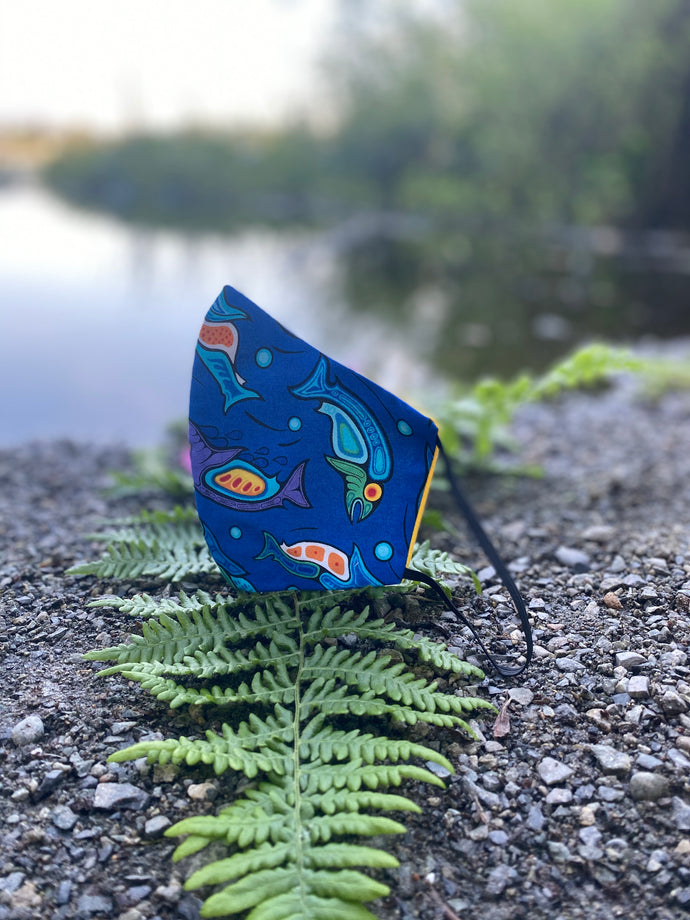 """Healing waters"" Yellow/Indigo Loon Mask"