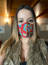 "Load image into Gallery viewer, Prairie red  ""beaded flowers "" non medical cloth mask"