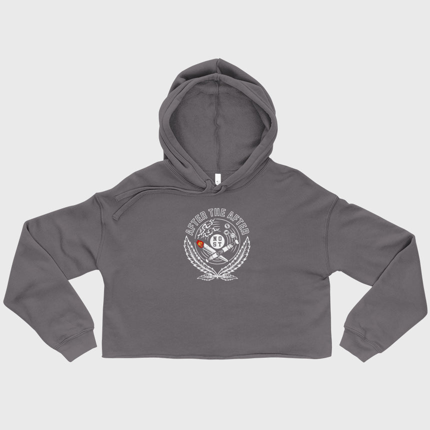 grey crop hoodie with after the after design
