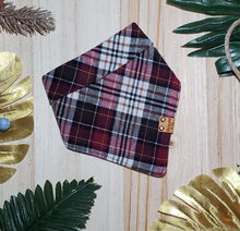 Load image into Gallery viewer, Maroon Plaid Flannel Bandana