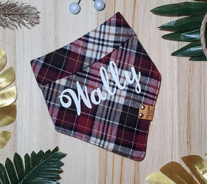 Maroon Plaid Flannel Bandana