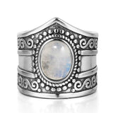 bague pierre de lune vintage traditionnelle