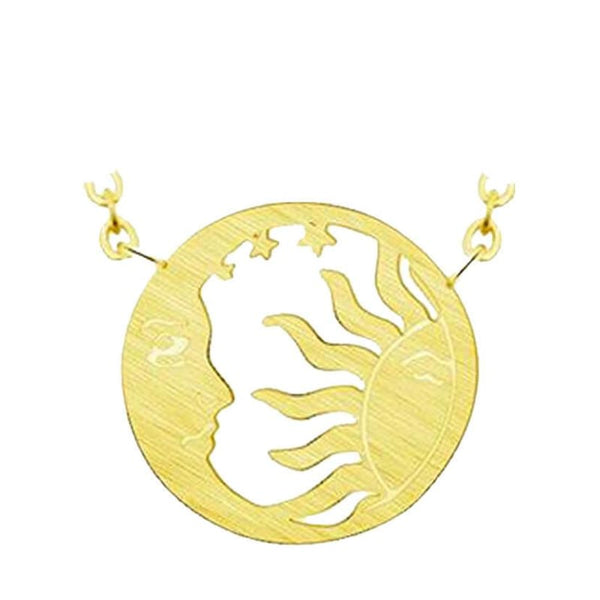 Collier Lune Soleil Or