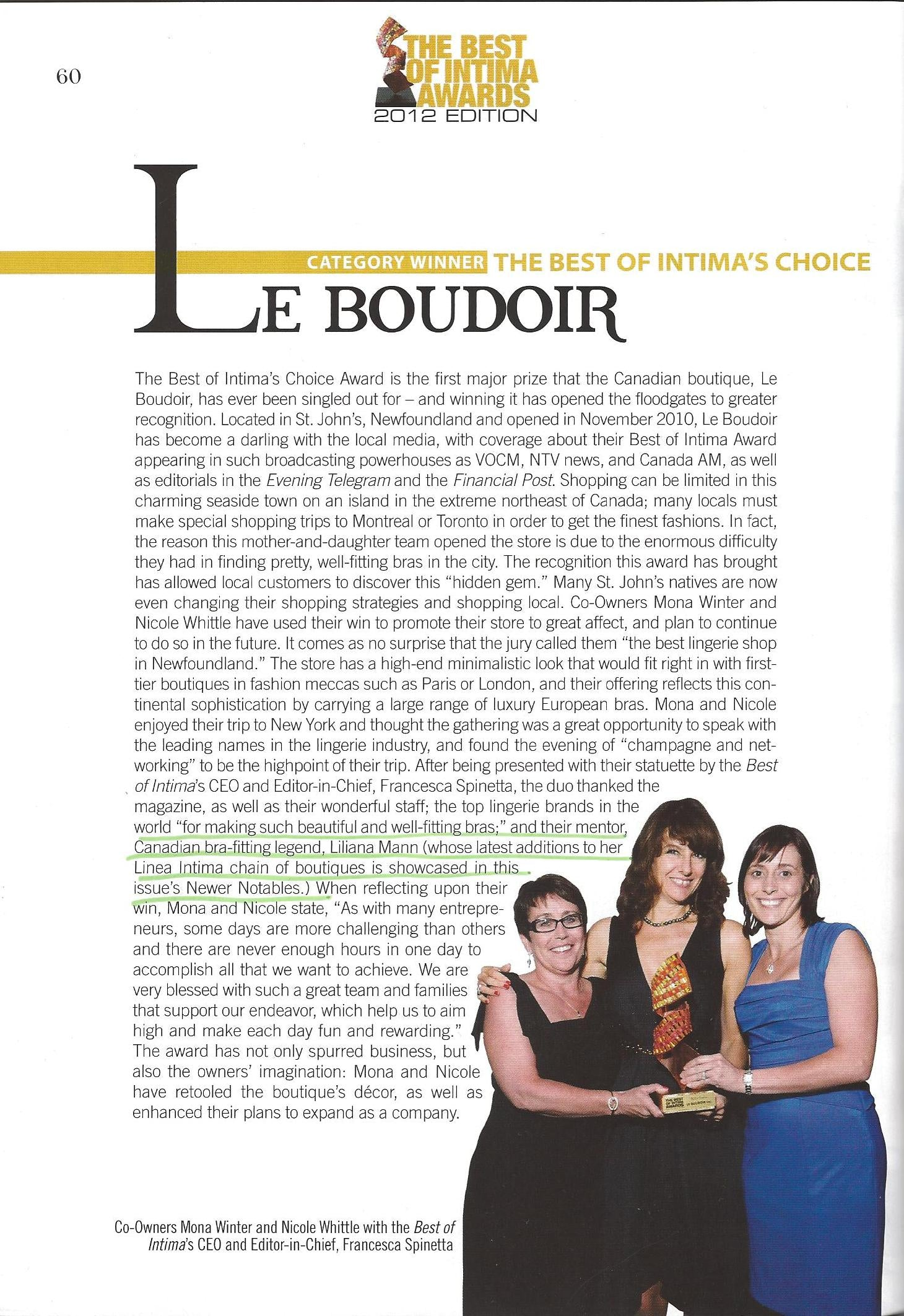 The Best of Intima Awards 2012 -  Nova Scotia's winning owners of Le Boudoir, credit their success to their mentor, 'bra-fitting legend' Liliana Mann