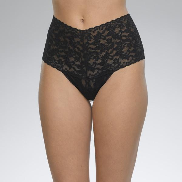 Hanky Panky Plus Size Signature Lace Retro Rise Thong in black