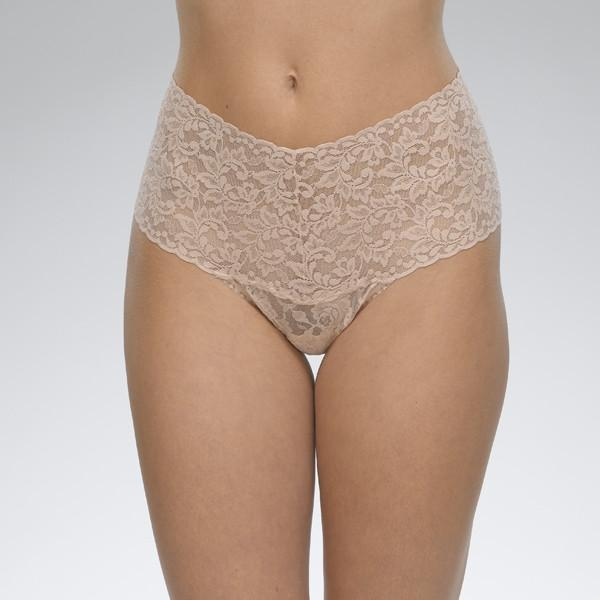Hanky Panky Plus Size Signature Lace Retro Rise Thong in chai