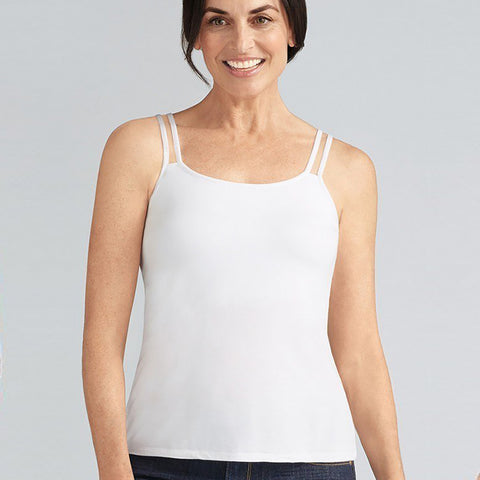 Amoena Valletta Top in White shelf bra built-in bra