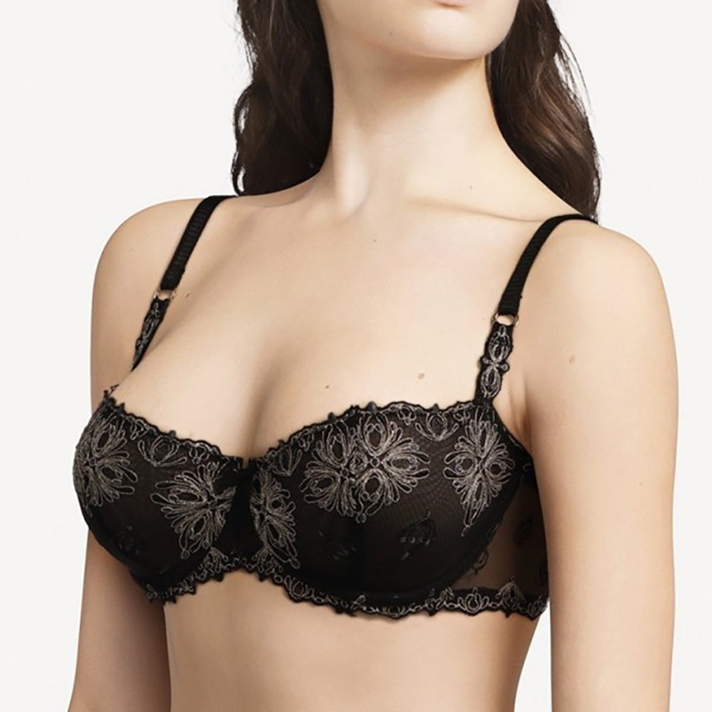 Chantelle Champs-Elysées Lace Demi Bra 2605 in black and gold on model