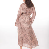 Christine Silk Arabella Long Robe ARA8050 in bloom print on model