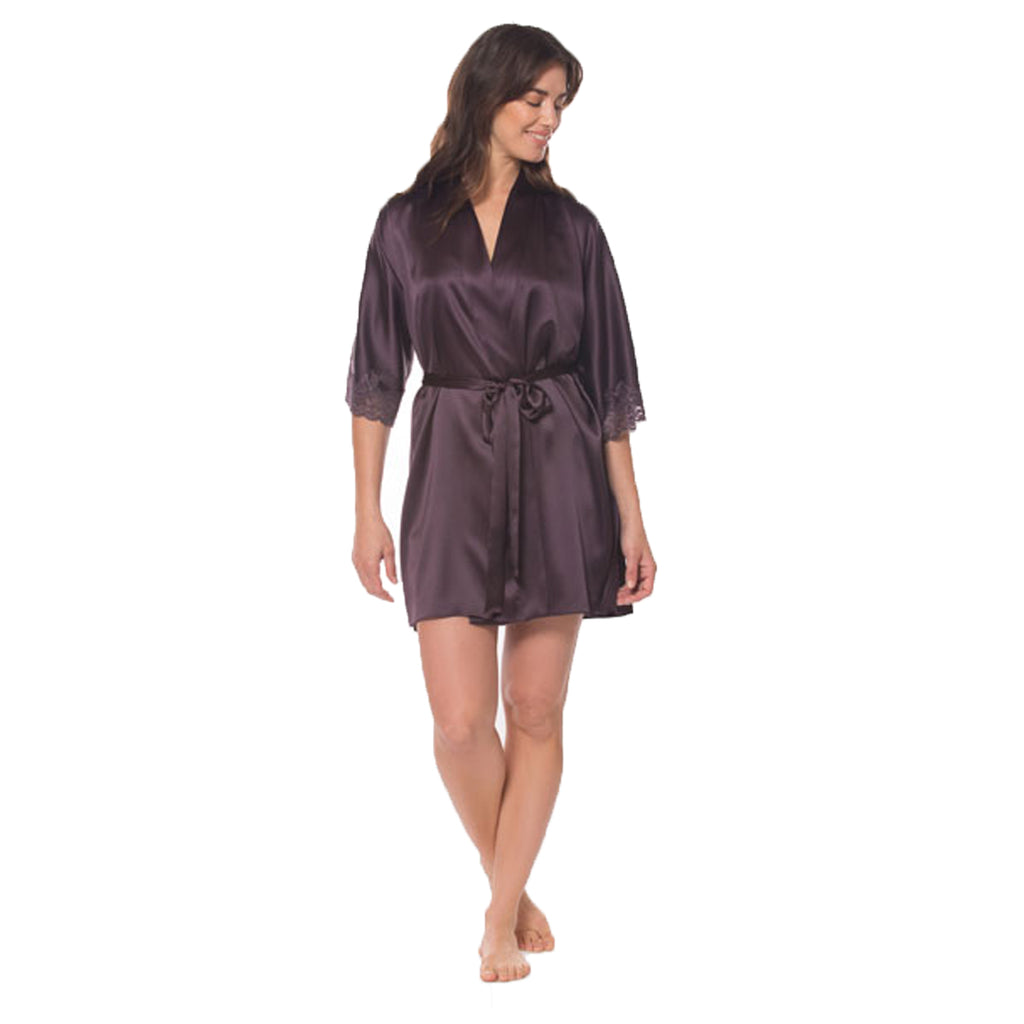 Christine Silk Short Robe in Aubergine MSS4904
