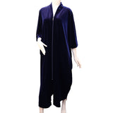 Diamond Tea 3/4 Slv Velvet Zip Up Robe