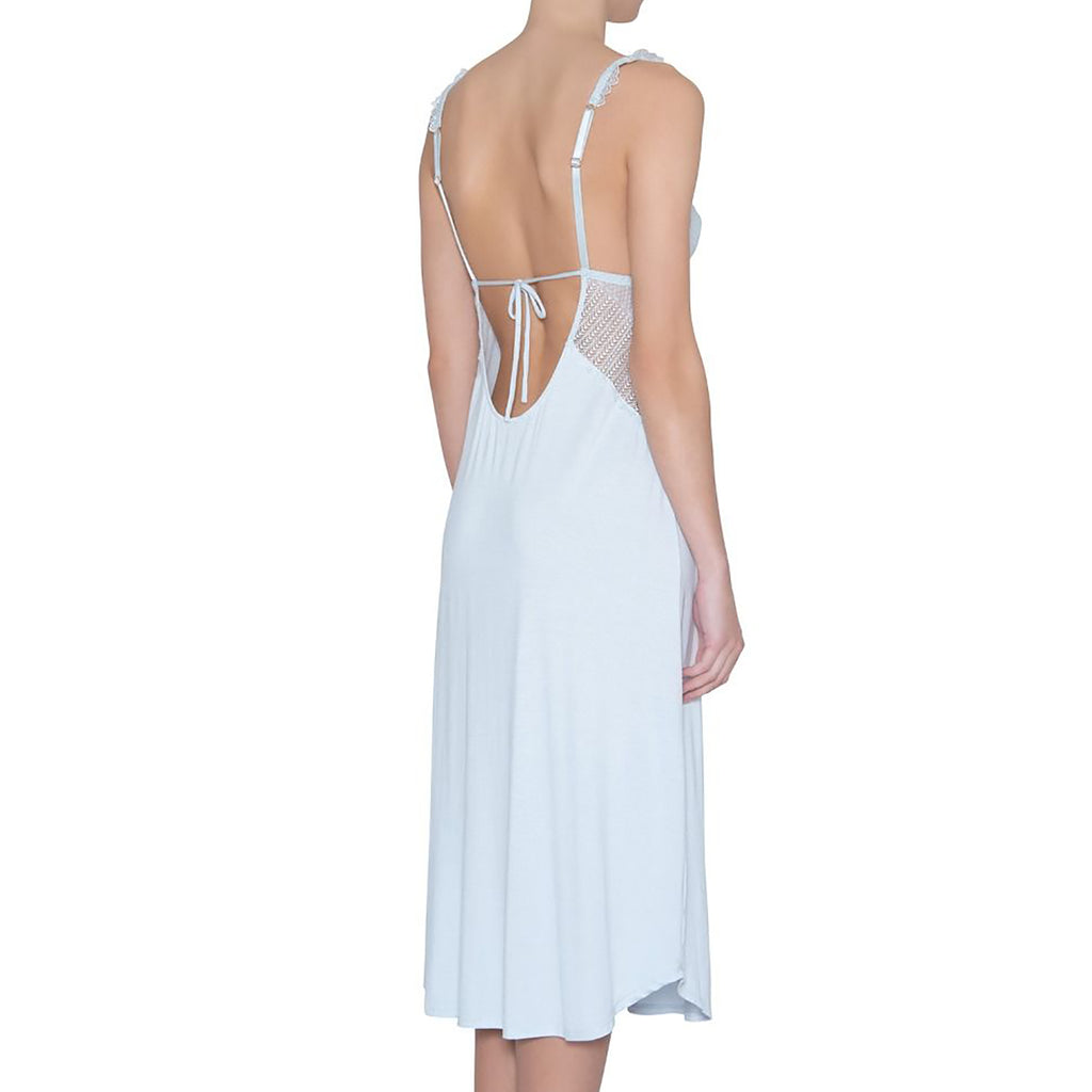 Eberjey Phoebe Luxe Gown in water blue on model G1909