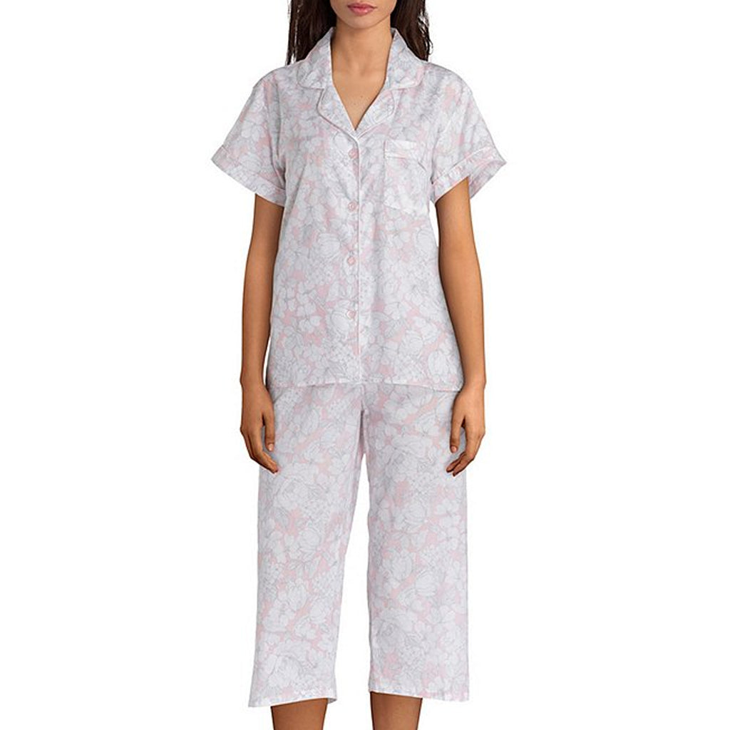 Miss Elaine Cotton Woven Pyjama Set in Grey Floral 404719