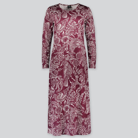 Nanso L/S Hilkka Gown 25723 in wine off-figure