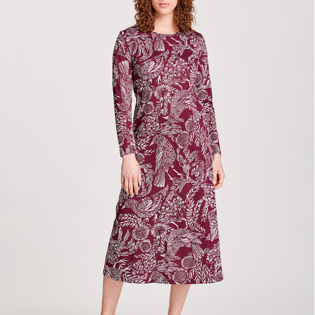 Nanso L/S Hilkka Gown 25723 in wine on model