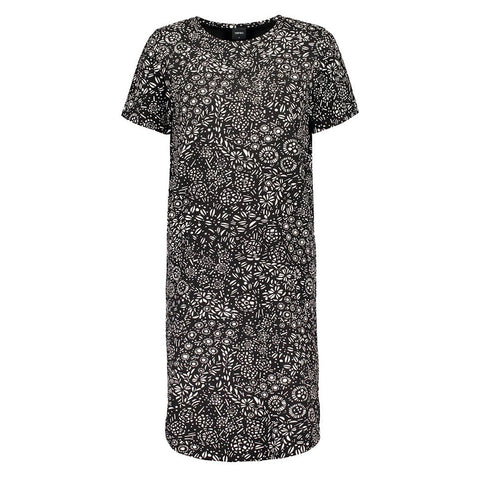 Nanso Kosmos S/S Nightshirt 25731 in black print off-figure