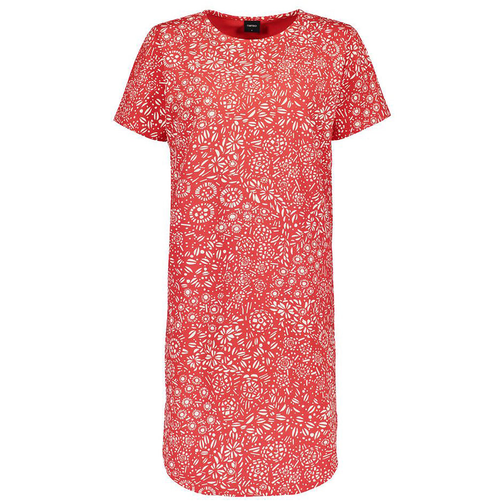 Nanso Kosmos S/S Nightshirt 25731 in red print off-figure