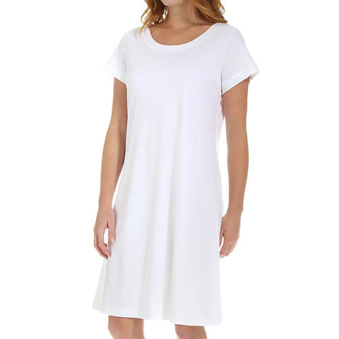 P-Jamas Butterknits Cap Sleeve Nightgown in White