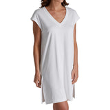 P-Jamas Butterknits V-Neck Short Nightshirt in White