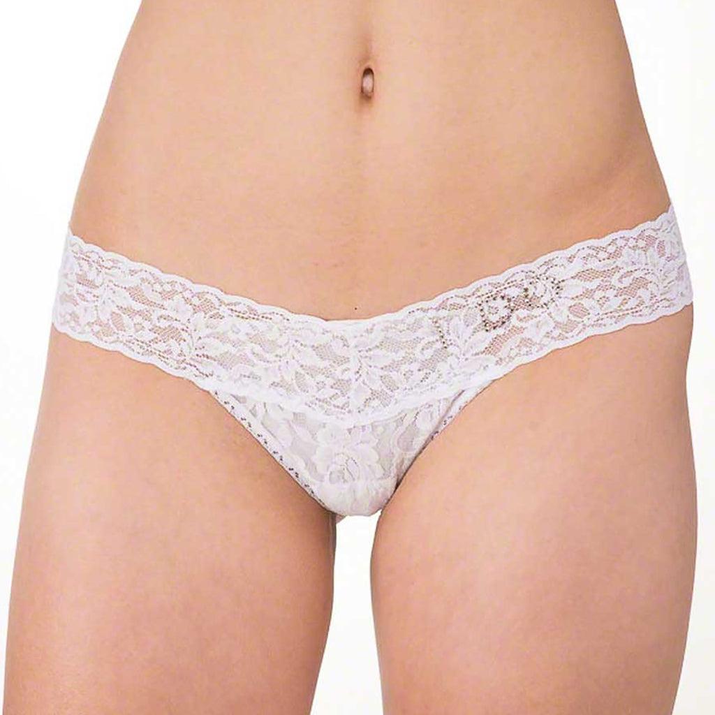 "Hanky Panky ""I DO"" Lace Low Rise Thong 6510 in White"