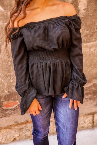 Black Ruffle off the shoulder blouse from the rooted shoppe boutique