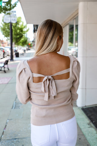 gentle square neck tie sweater from the rooted shoppe
