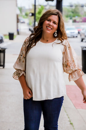 Blessed Assurance Floral Sleeve Blouse